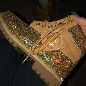 Custom glitter timberlands